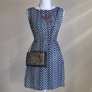 FRANCESCA'S Navy Blue and White Chevron Dress